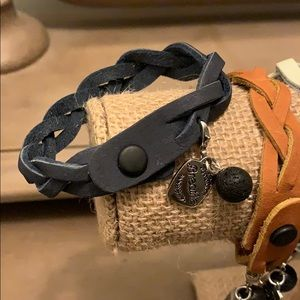 Braided leather lava rock essential oils bracelet